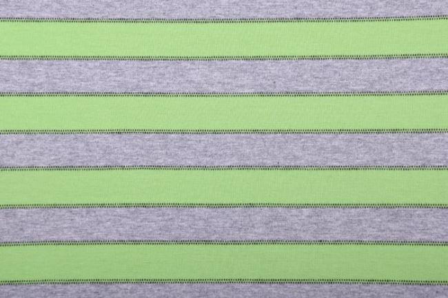 Bavlněný úplet v šedém melíru se světle zelenými pruhy 61692