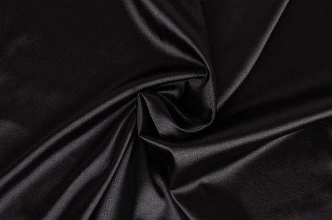 Satén strečový v černé barvě 04241/069