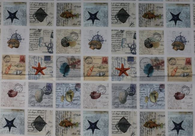 Dekorační látka s digitálním rybářským motivem 1050/008