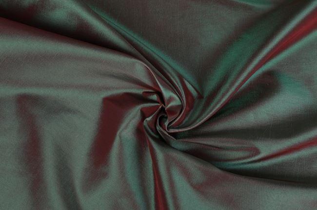Taft tmavě zelený s červeným leskem 0420/210