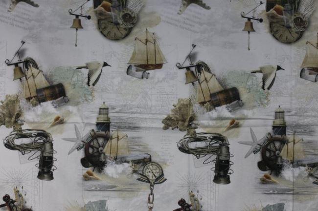 dekorační látka s digitálním potiskem námořnické tématiky 1083/052