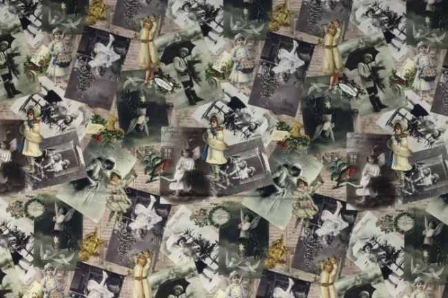 Vánoční dekorační látka s digitálním potiskem dívek 1094/015