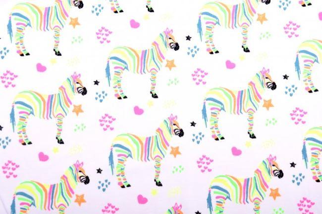Bavlněný úplet s potiskem zebry v neonových barvách 13621/050
