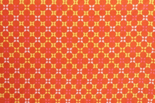 Oranžová bavlna se vzorem 6509/36