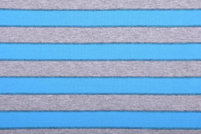 Bavlněný úplet v šedém melíru s modrými pruhy 61693