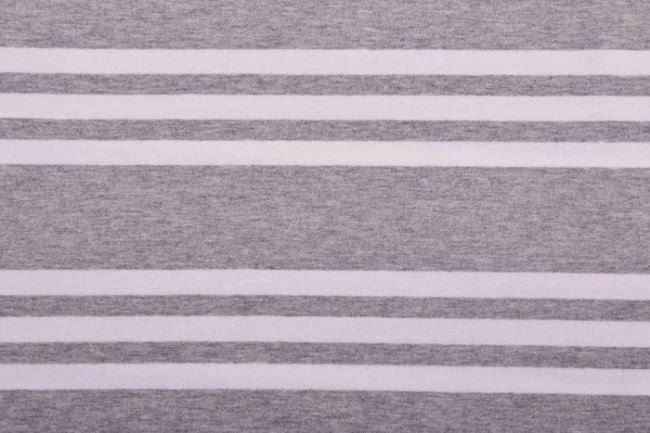 Bavlněný úplet ve světle šedém melíru s pruhy 60781