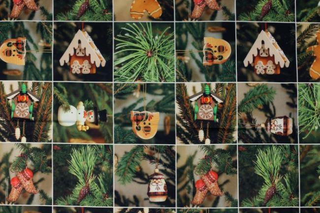 Dekorační látka s vánočním digitálním potiskem 1085/025