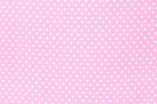 Bavlna se srdíčky světle růžová 1264/11