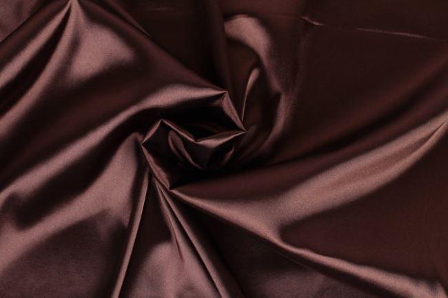 Strečový satén v tmavě hnědé barvě 04241/055