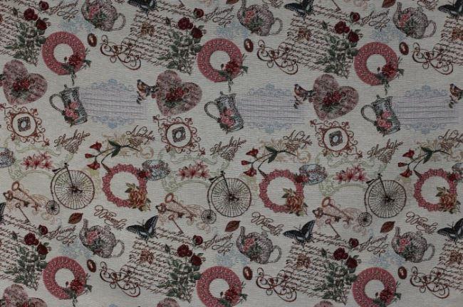 Gobelínová dekorační látka s retro motivem 1011/052