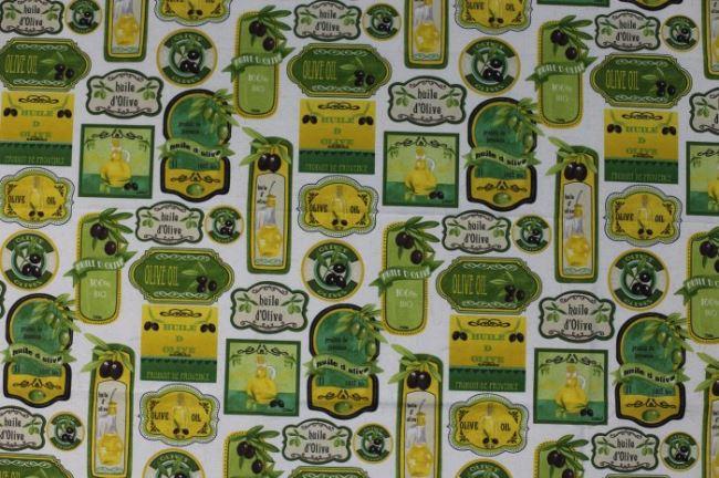Dekorační látka s potiskem etiket olivových olejů 1183/050