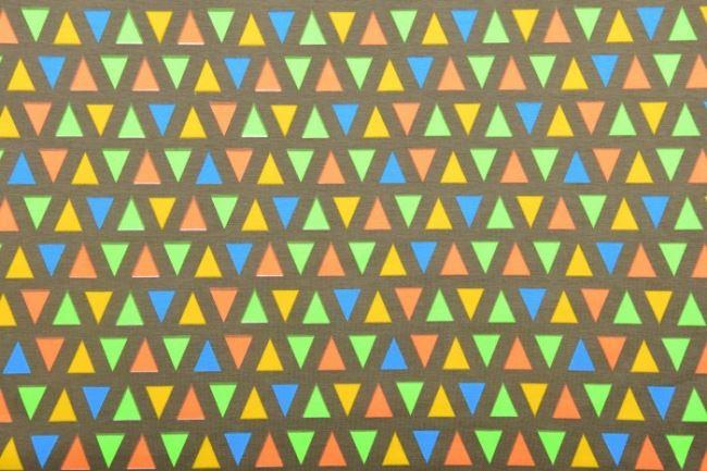 Bavlněný úplet s geometrickým neonovým vzorem 12574/027