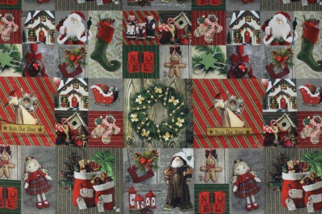 Vánoční dekorační látka s digitálním potiskem 1092/015