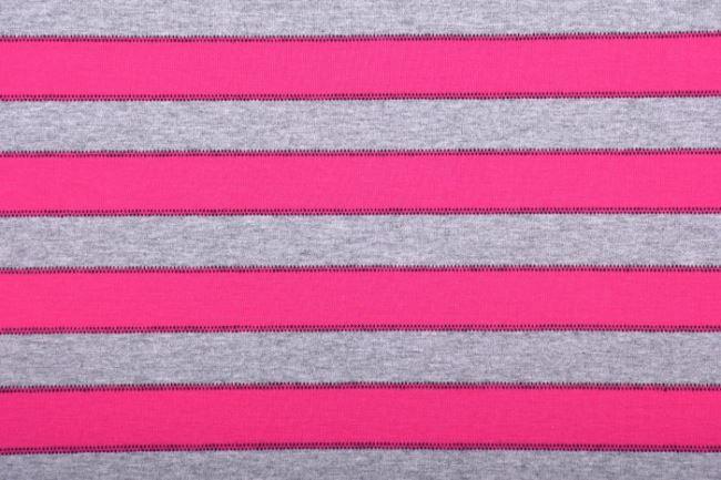 Bavlněný úplet v šedém melíru s růžovými pruhy 61696