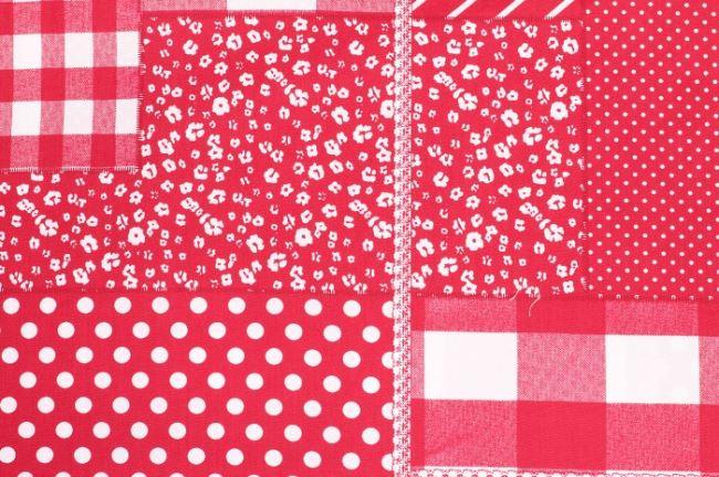 Bavlna - červený patchwork 05634/015