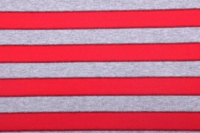 Bavlněný úplet v šedém melíru s červenými pruhy 61695