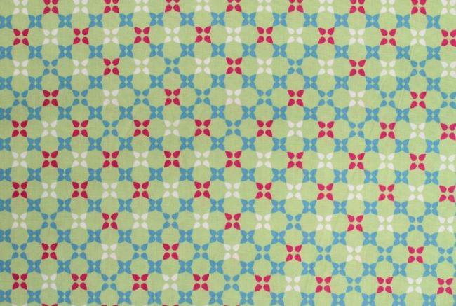 Bavlna se vzorem ve světle zelené barvě 6509/23