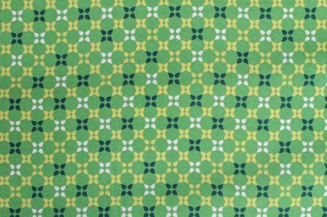 Bavlna se vzorem v zelené barvě 6509/125
