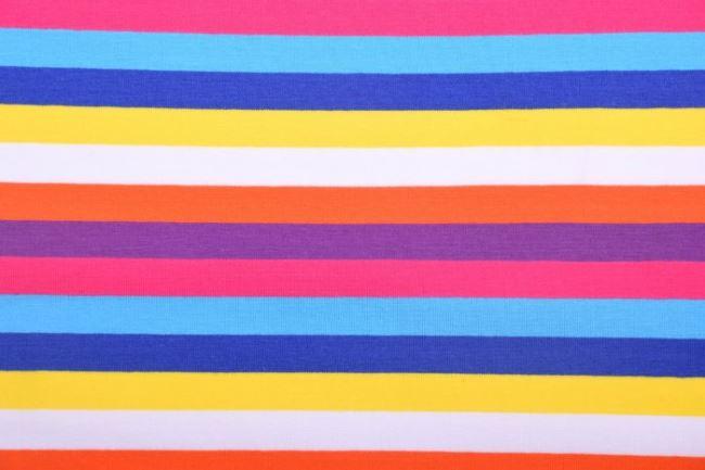 Bavlněný úplet s pruhy v jasných barvách 60776